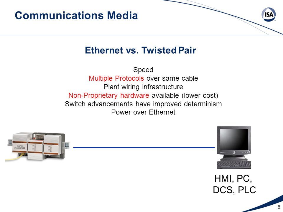 8 Ethernet vs. Twisted Pair HMI, PC, DCS, PLC Speed Multiple Protocols over same cable Plant wiring infrastructure Non-Proprietary hardware available