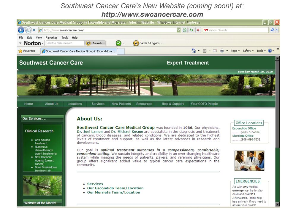 Southwest Cancer Care's New Website (coming soon!) at: http://www.swcancercare.com