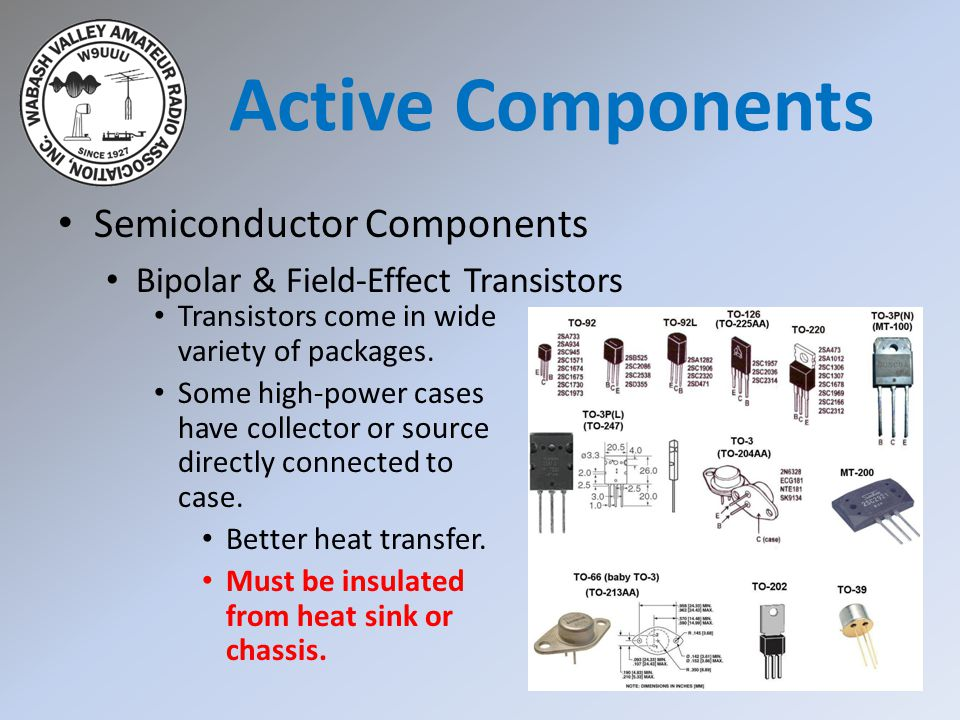 Semiconductor Components Bipolar & Field-Effect Transistors Active Components Transistors come in wide variety of packages. Some high-power cases have