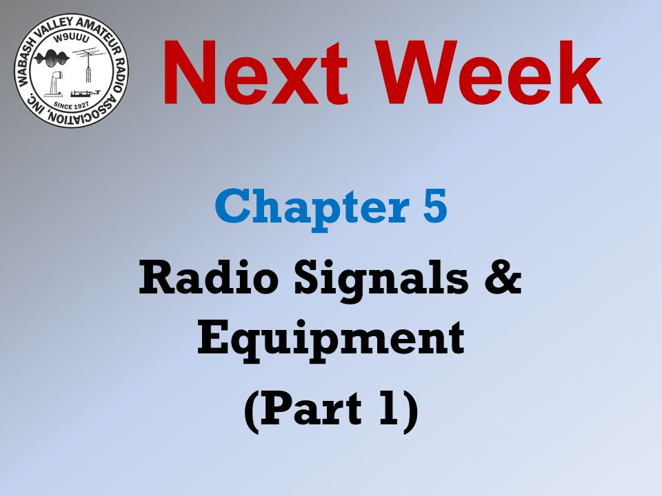 Next Week Chapter 5 Radio Signals & Equipment (Part 1)