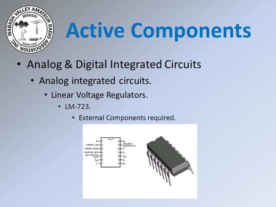 Analog & Digital Integrated Circuits Analog integrated circuits. Linear Voltage Regulators. LM-723. External Components required. Active Components
