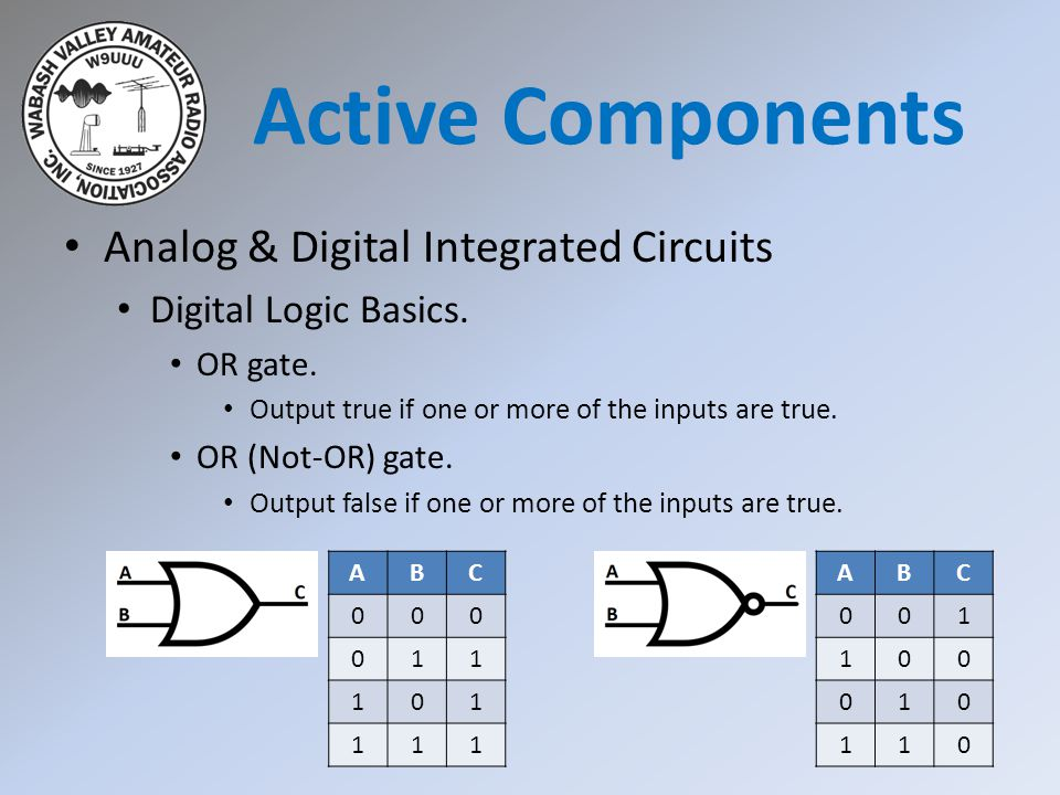 Analog & Digital Integrated Circuits Digital Logic Basics. OR gate. Output true if one or more of the inputs are true. OR (Not-OR) gate. Output false