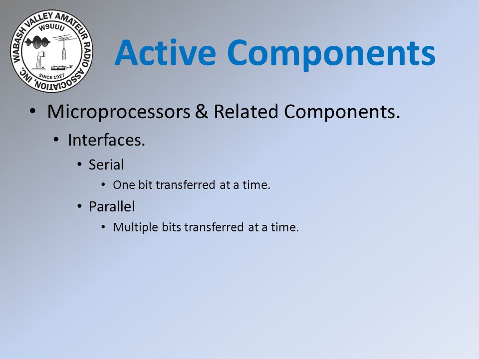 Microprocessors & Related Components. Interfaces. Serial One bit transferred at a time. Parallel Multiple bits transferred at a time. Active Component
