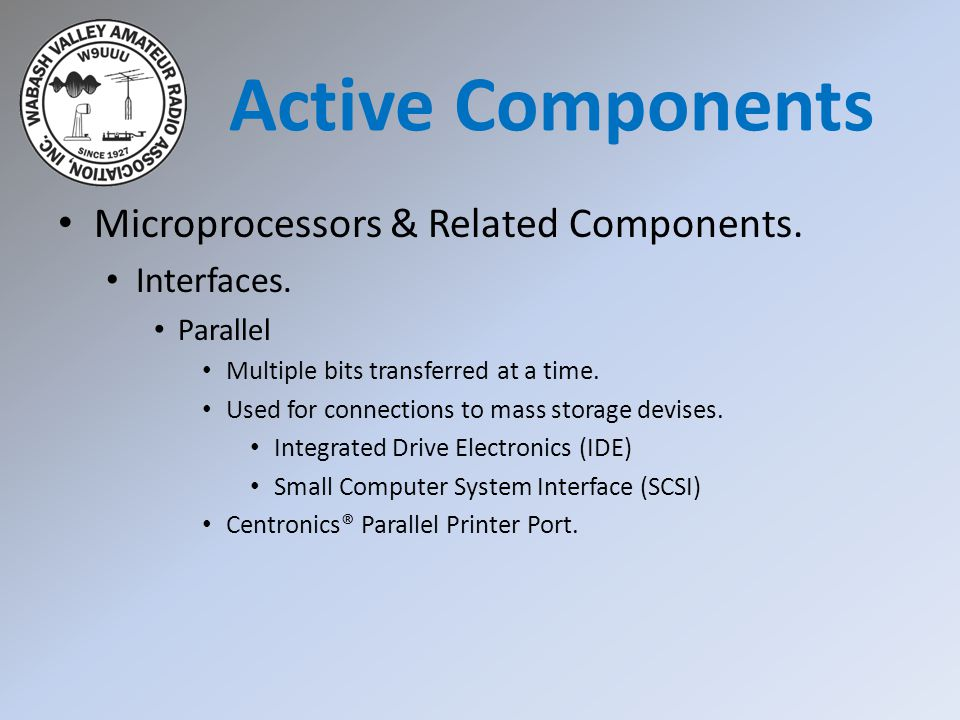 Microprocessors & Related Components. Interfaces. Parallel Multiple bits transferred at a time. Used for connections to mass storage devises. Integrat