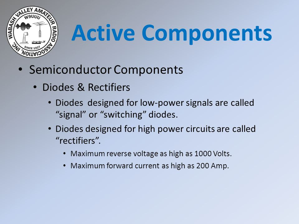 Semiconductor Components Diodes & Rectifiers Diode Ratings Peak Inverse Voltage (PIV).