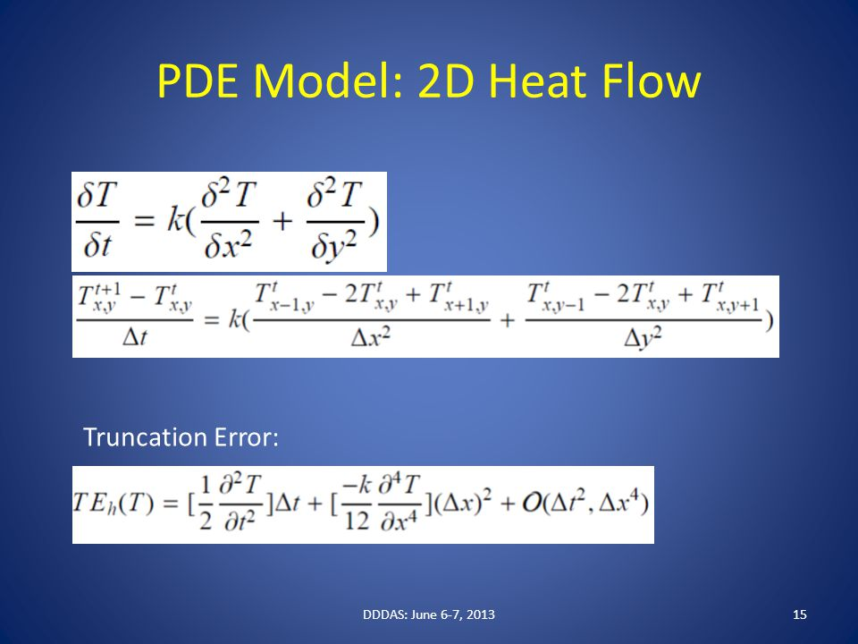 PDE Model: 2D Heat Flow DDDAS: June 6-7, 201315 Truncation Error: