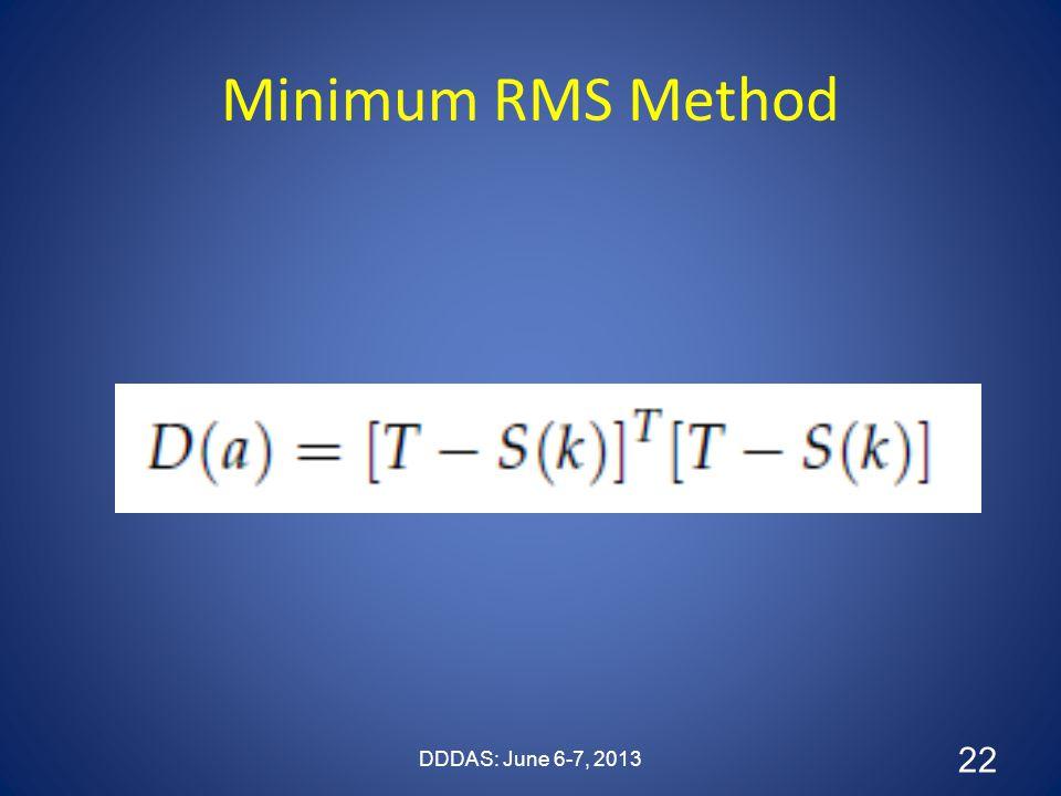 Minimum RMS Method DDDAS: June 6-7, 2013 22