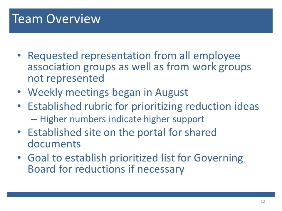 Requested representation from all employee association groups as well as from work groups not represented Weekly meetings began in August Established