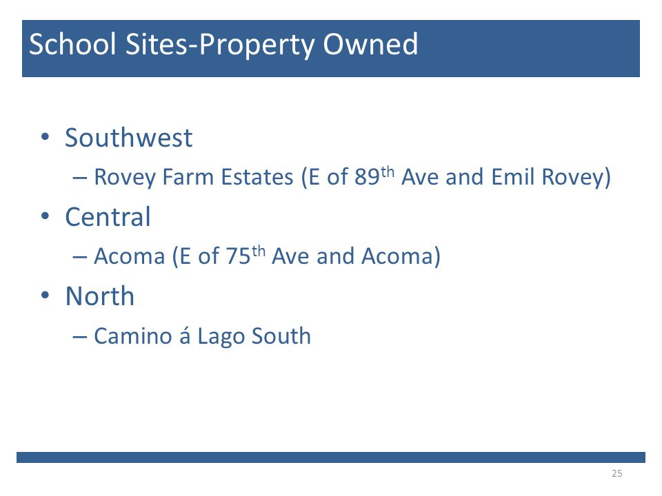 Southwest – Rovey Farm Estates (E of 89 th Ave and Emil Rovey) Central – Acoma (E of 75 th Ave and Acoma) North – Camino á Lago South 25 School Sites-Property Owned