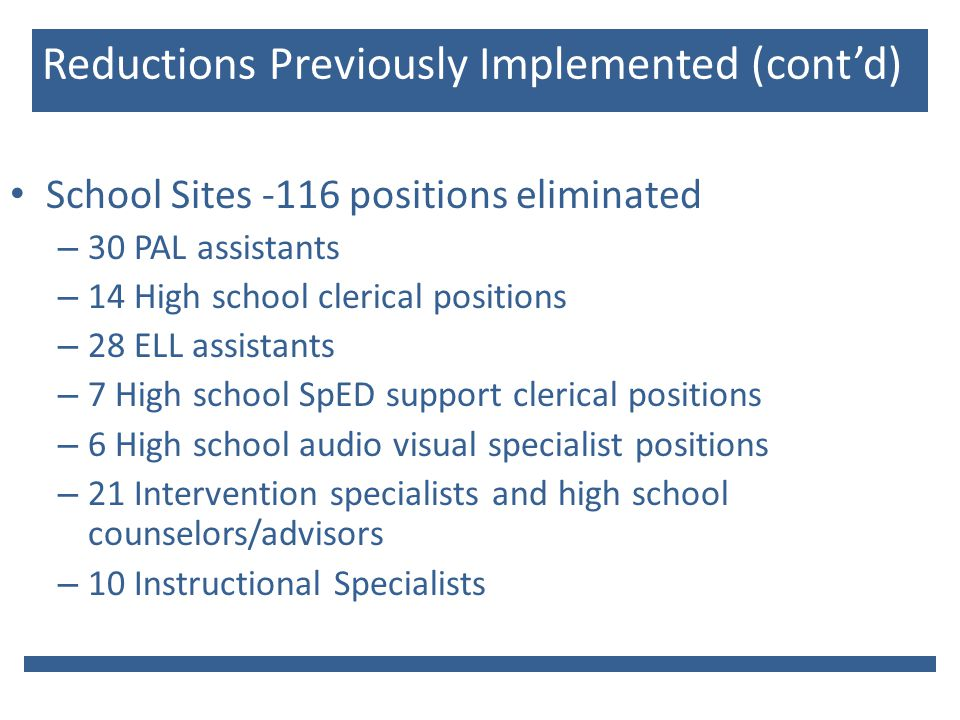 Reductions Previously Implemented (cont'd) School Sites -116 positions eliminated – 30 PAL assistants – 14 High school clerical positions – 28 ELL assistants – 7 High school SpED support clerical positions – 6 High school audio visual specialist positions – 21 Intervention specialists and high school counselors/advisors – 10 Instructional Specialists