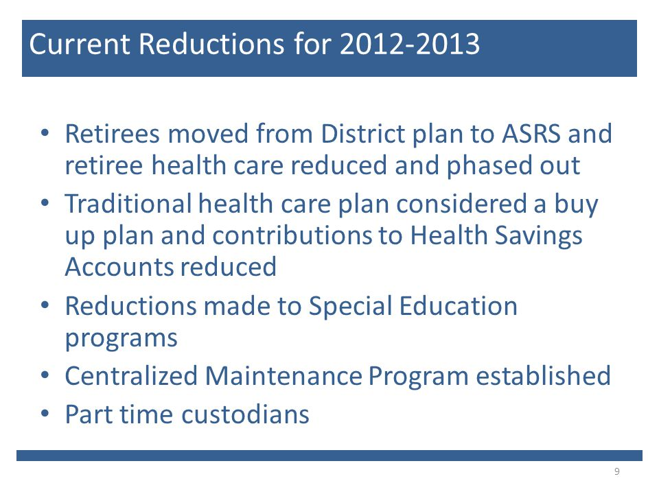 Retirees moved from District plan to ASRS and retiree health care reduced and phased out Traditional health care plan considered a buy up plan and contributions to Health Savings Accounts reduced Reductions made to Special Education programs Centralized Maintenance Program established Part time custodians 9 Current Reductions for 2012-2013