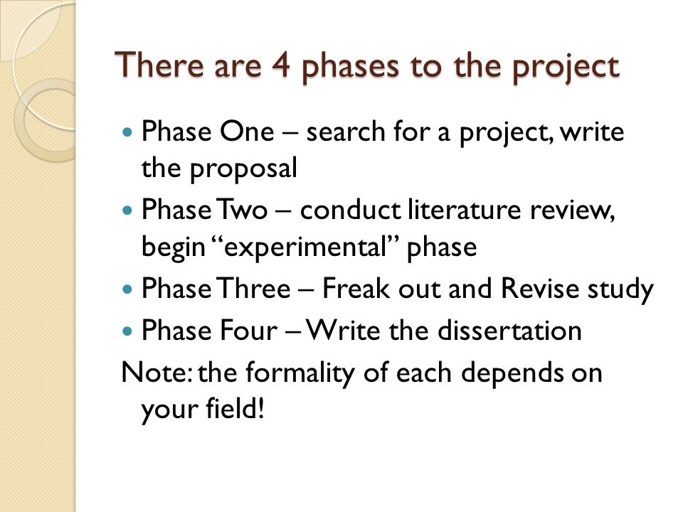 "There are 4 phases to the project Phase One – search for a project, write the proposal Phase Two – conduct literature review, begin ""experimental"" pha"