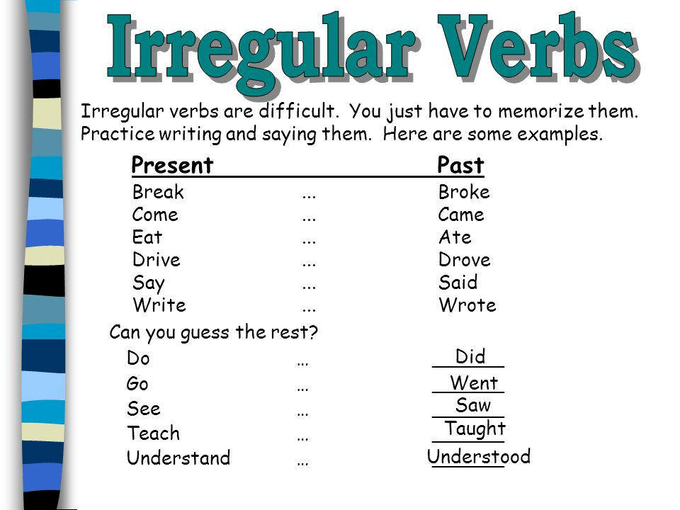 Past tense negative verbs are difficult because students often confuse the negative part (didn't) with the infinitive part of the verb.