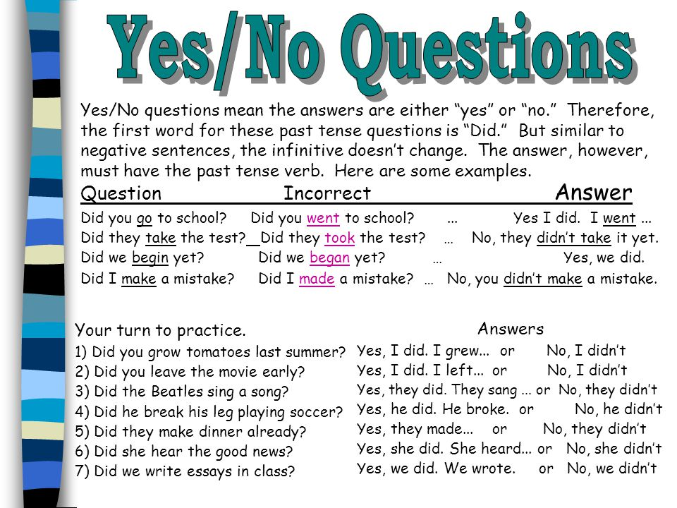 """Yes/No questions mean the answers are either """"yes"""" or """"no."""" Therefore, the first word for these past tense questions is """"Did."""" But similar to negative"""