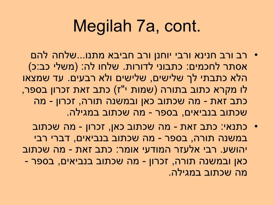 Megilah 7a, cont. רב ורב חנינא ורבי יוחנן ורב חביבא מתנו...שלחה להם אסתר לחכמים: כתבוני לדורות.