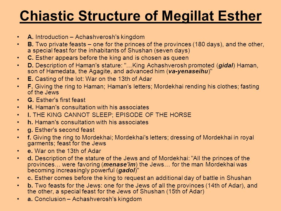 Chiastic Structure of Megillat Esther A. Introduction – Achashverosh's kingdom B. Two private feasts – one for the princes of the provinces (180 days)
