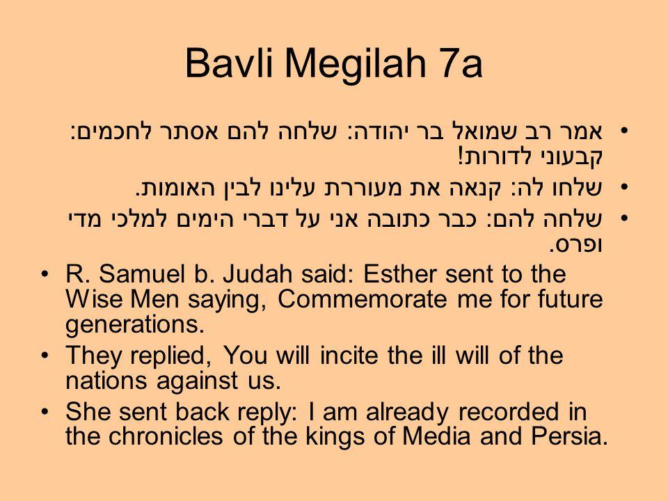 Bavli Megilah 7a אמר רב שמואל בר יהודה: שלחה להם אסתר לחכמים: קבעוני לדורות.