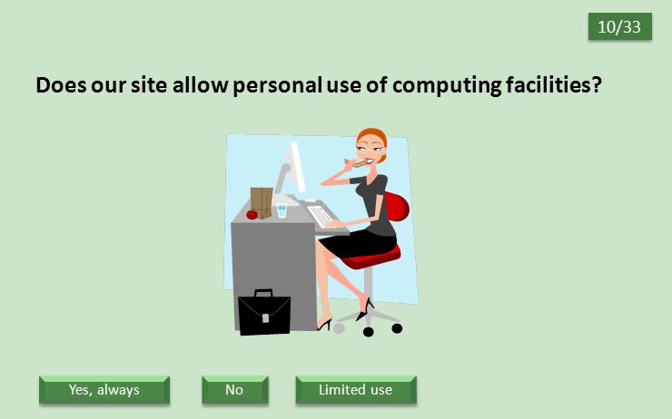 Does our site allow personal use of computing facilities? 10/33 No Limited use Yes, always