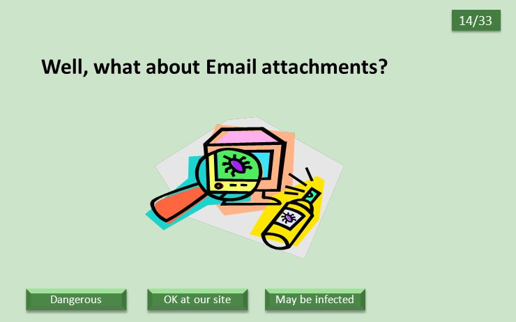Well, what about Email attachments? 14/33 OK at our site May be infected Dangerous