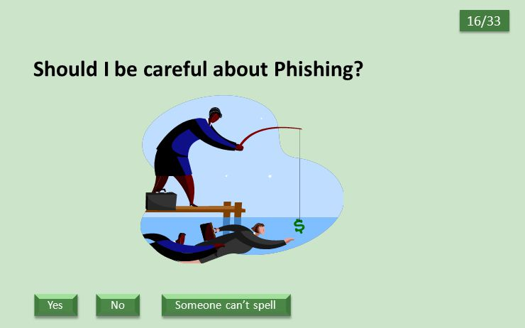 Should I be careful about Phishing? 16/33 Someone can't spell No Yes