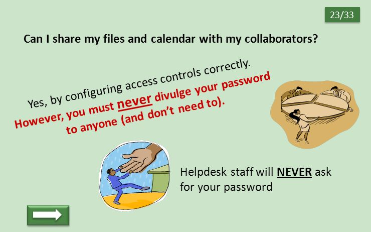 Can I share my files and calendar with my collaborators? Yes, by configuring access controls correctly. However, you must never divulge your password