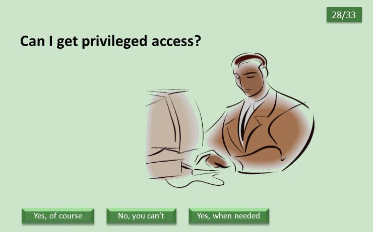 Can I get privileged access? 28/33 Yes, when needed No, you can't Yes, of course