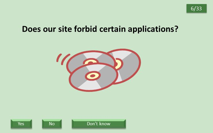 Does our site forbid certain applications? 6/33 Yes No Don't know
