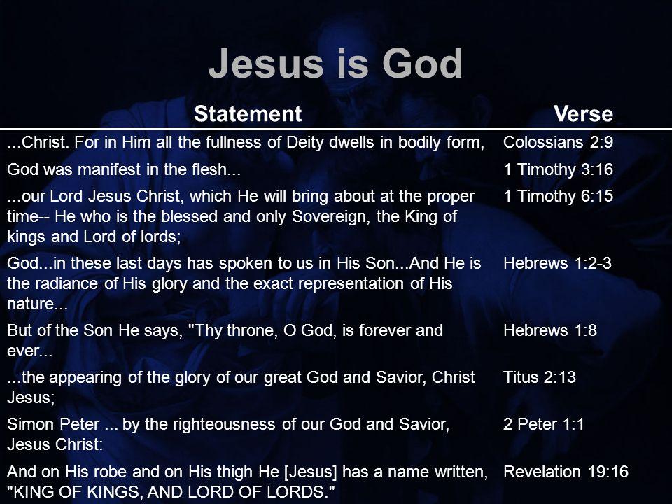 Jesus is God StatementVerse...Christ.