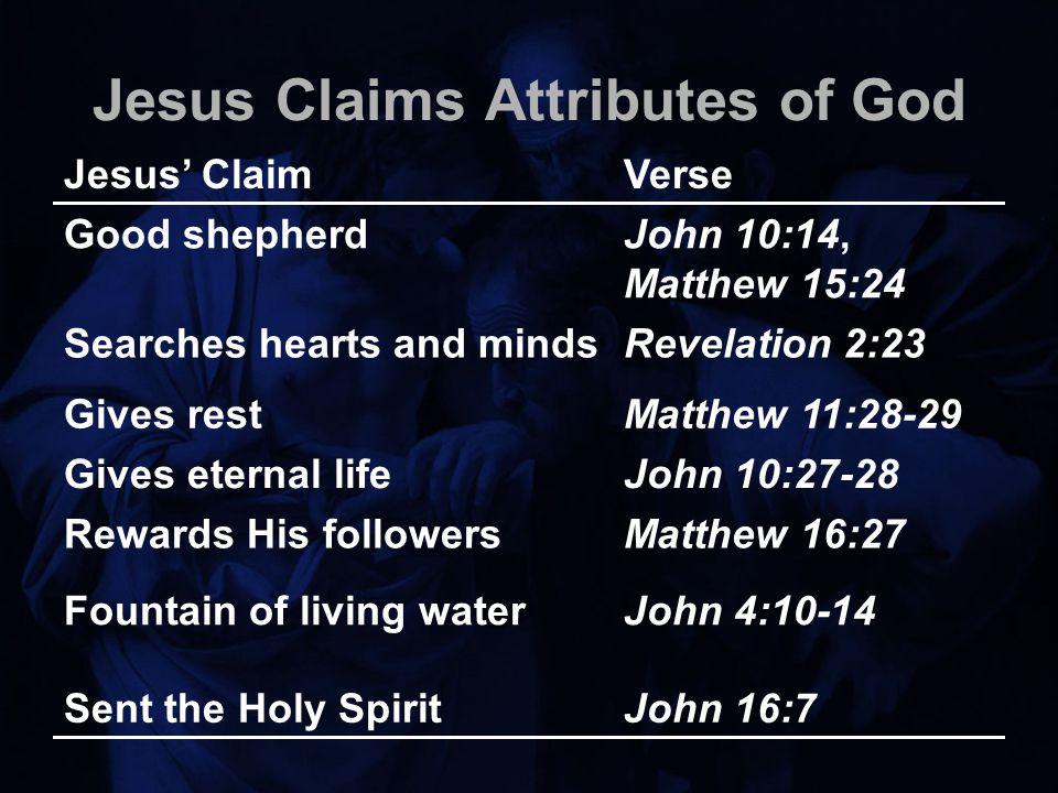 Jesus Claims Attributes of God Jesus' ClaimVerse Good shepherdJohn 10:14, Matthew 15:24 Searches hearts and mindsRevelation 2:23 Gives restMatthew 11:28-29 Gives eternal lifeJohn 10:27-28 Rewards His followersMatthew 16:27 Fountain of living waterJohn 4:10-14 Sent the Holy SpiritJohn 16:7