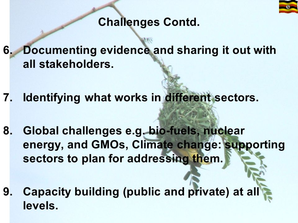 Challenges Contd. 6.Documenting evidence and sharing it out with all stakeholders.