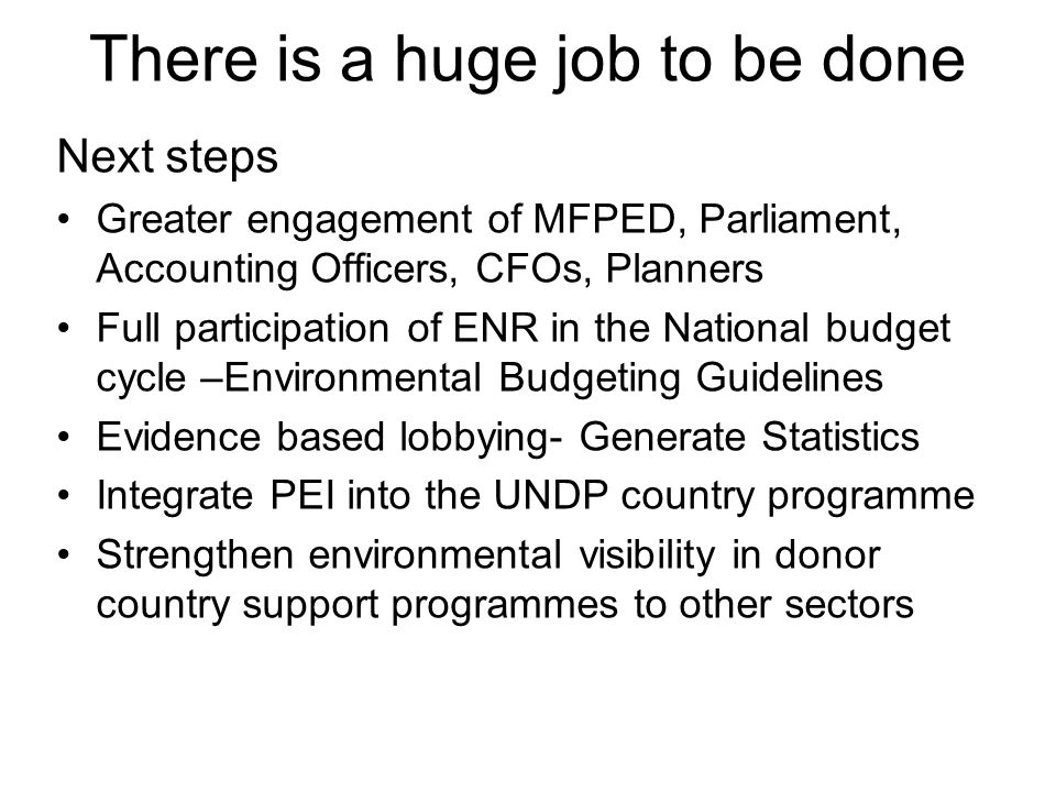 There is a huge job to be done Next steps Greater engagement of MFPED, Parliament, Accounting Officers, CFOs, Planners Full participation of ENR in the National budget cycle –Environmental Budgeting Guidelines Evidence based lobbying- Generate Statistics Integrate PEI into the UNDP country programme Strengthen environmental visibility in donor country support programmes to other sectors