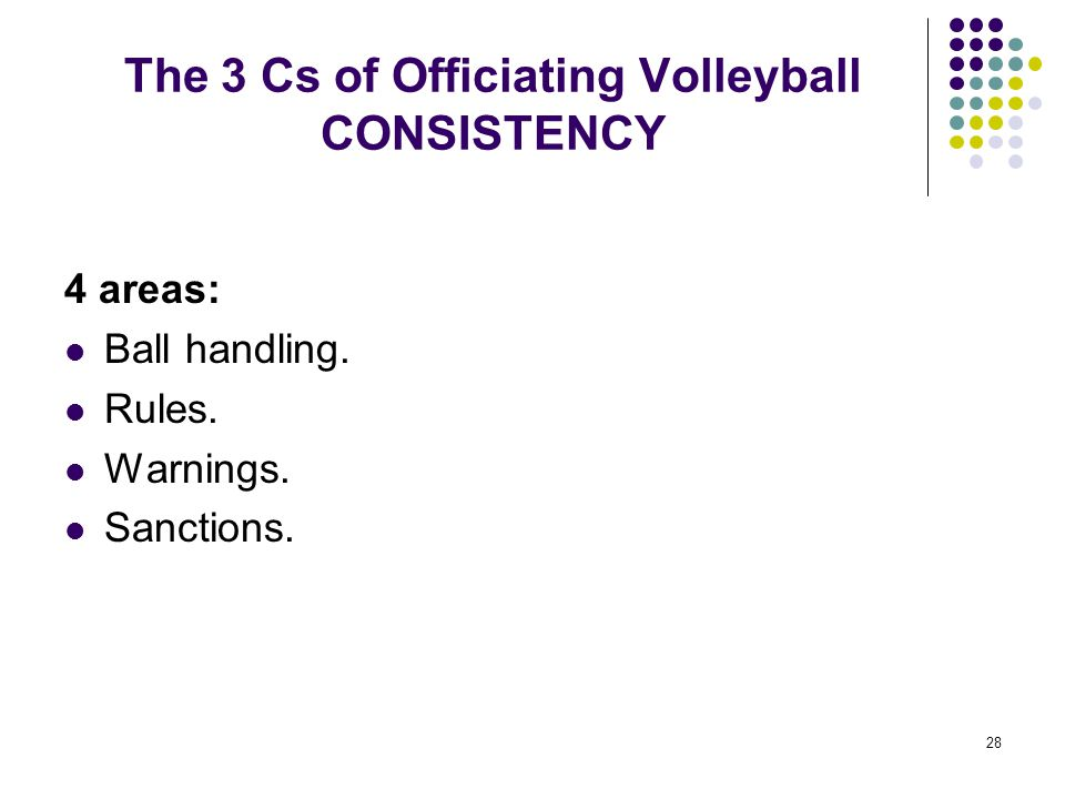 28 The 3 Cs of Officiating Volleyball CONSISTENCY 4 areas: Ball handling. Rules. Warnings. Sanctions.