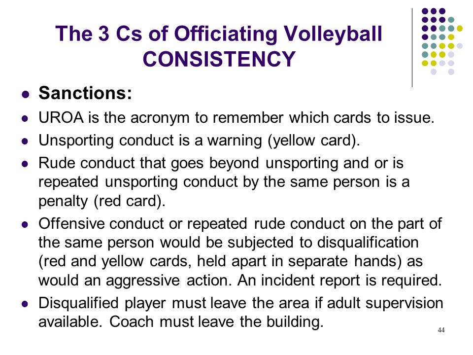 44 The 3 Cs of Officiating Volleyball CONSISTENCY Sanctions: UROA is the acronym to remember which cards to issue. Unsporting conduct is a warning (ye