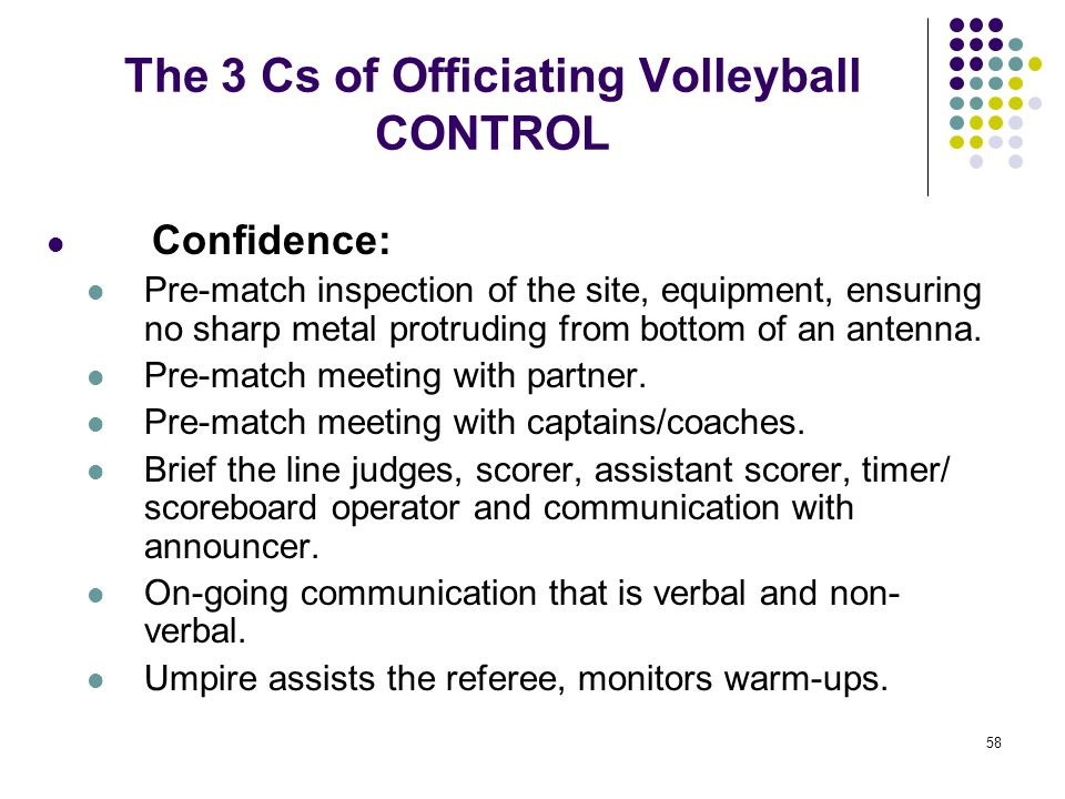 58 The 3 Cs of Officiating Volleyball CONTROL Confidence: Pre-match inspection of the site, equipment, ensuring no sharp metal protruding from bottom
