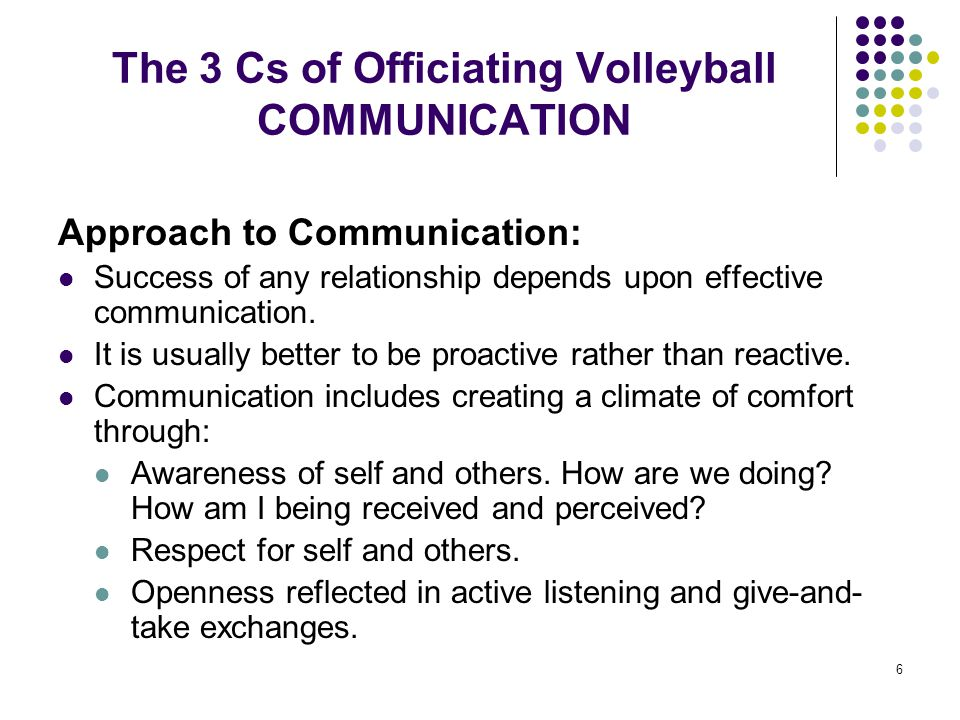 6 The 3 Cs of Officiating Volleyball COMMUNICATION Approach to Communication: Success of any relationship depends upon effective communication. It is