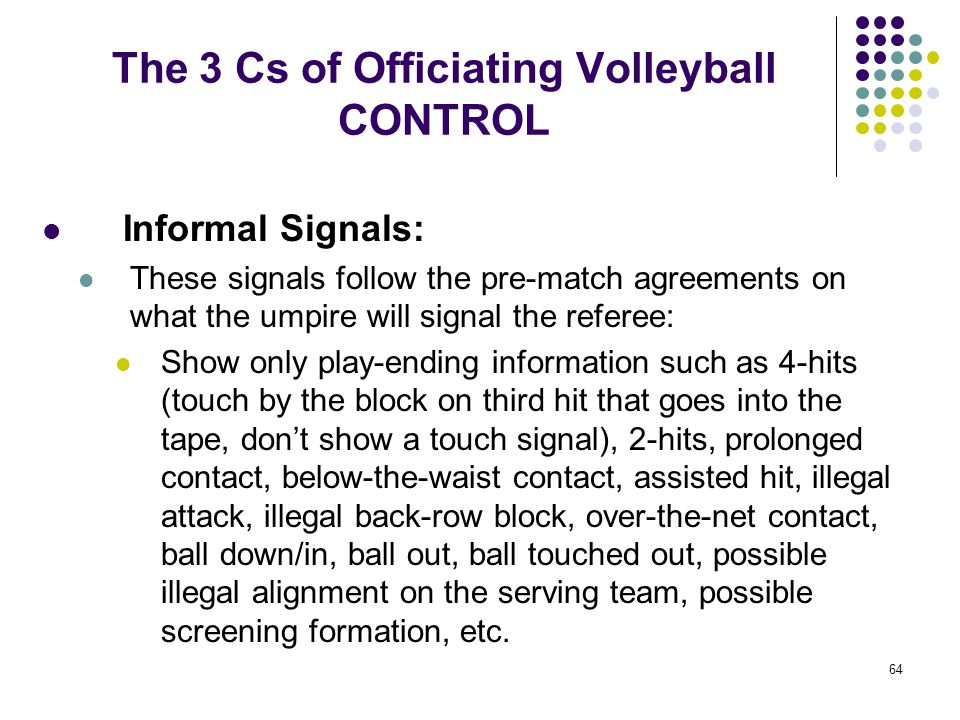 64 The 3 Cs of Officiating Volleyball CONTROL Informal Signals: These signals follow the pre-match agreements on what the umpire will signal the refer