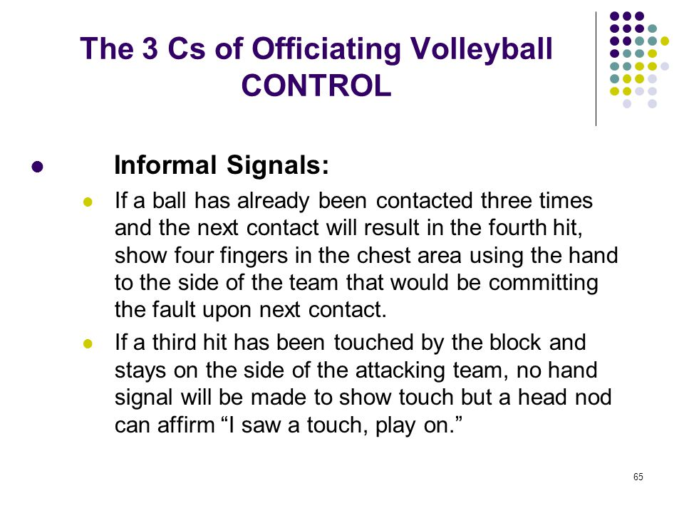 65 The 3 Cs of Officiating Volleyball CONTROL Informal Signals: If a ball has already been contacted three times and the next contact will result in t