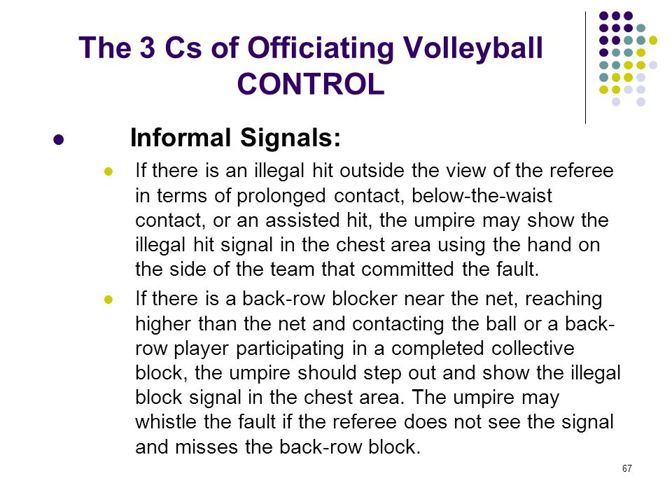 67 The 3 Cs of Officiating Volleyball CONTROL Informal Signals: If there is an illegal hit outside the view of the referee in terms of prolonged conta