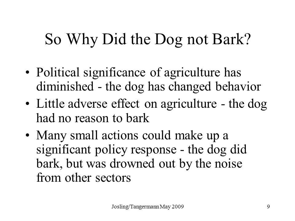 Josling/Tangermann May So Why Did the Dog not Bark.