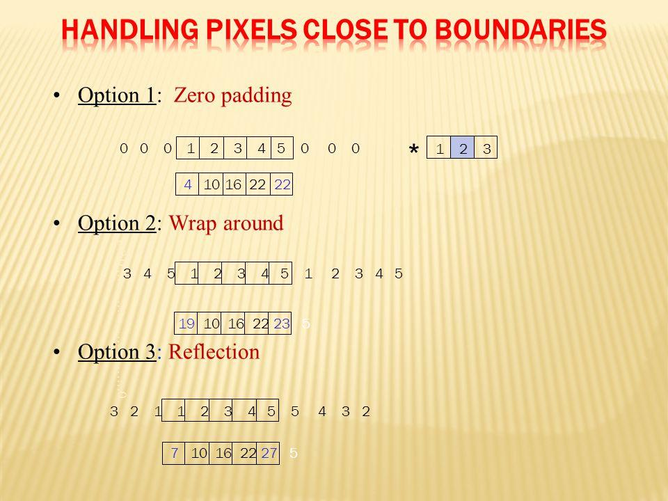 0 0 0 ……………………….0 Option 1: Zero padding Option 2: Wrap around Option 3: Reflection 0 0 0 1 2 3 4 5 0 0 0 4 10 16 22 22 1 2 3 * 3 4 5 1 2 3 4 5 1 2 3 4 5 19 10 16 22 23 5 3 2 1 1 2 3 4 5 5 4 3 2 7 10 16 22 27 5