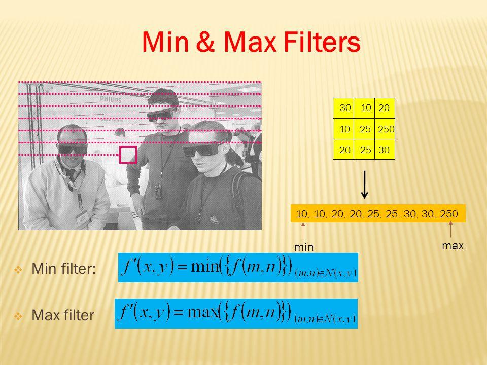 30 10 20 10 25 250 20 25 30 10, 10, 20, 20, 25, 25, 30, 30, 250 min max  Min filter:  Max filter Min & Max Filters