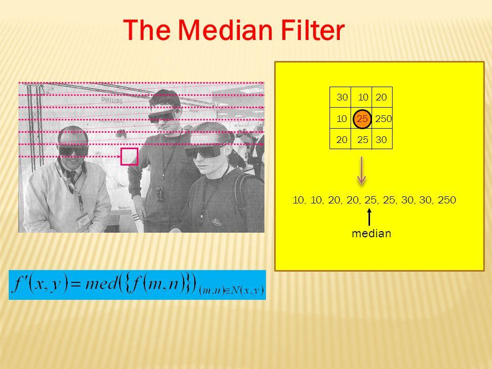 30 10 20 10 25 250 20 25 30 10, 10, 20, 20, 25, 25, 30, 30, 250 median The Median Filter