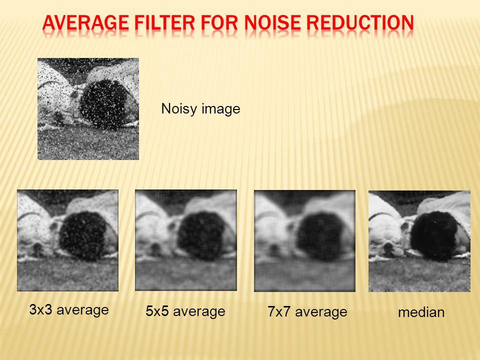 Noisy image 3x3 average 5x5 average 7x7 average median