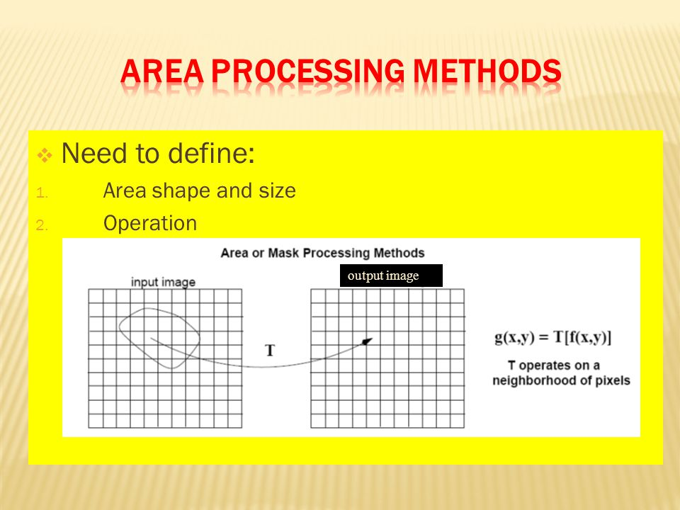  Need to define: 1. Area shape and size 2. Operation output image