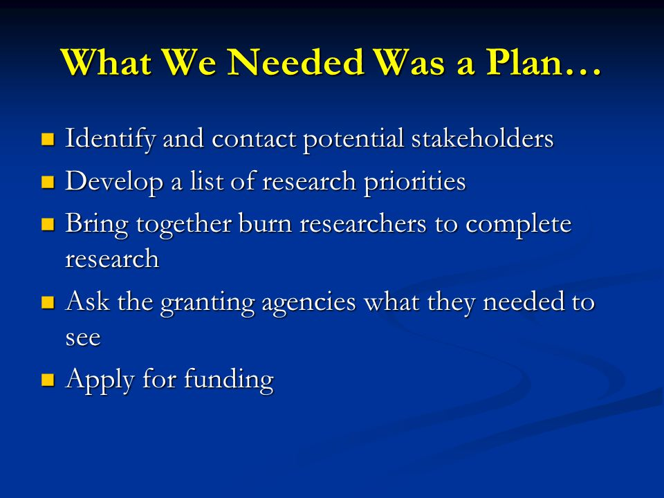 What We Needed Was a Plan… Identify and contact potential stakeholders Identify and contact potential stakeholders Develop a list of research priorities Develop a list of research priorities Bring together burn researchers to complete research Bring together burn researchers to complete research Ask the granting agencies what they needed to see Ask the granting agencies what they needed to see Apply for funding Apply for funding