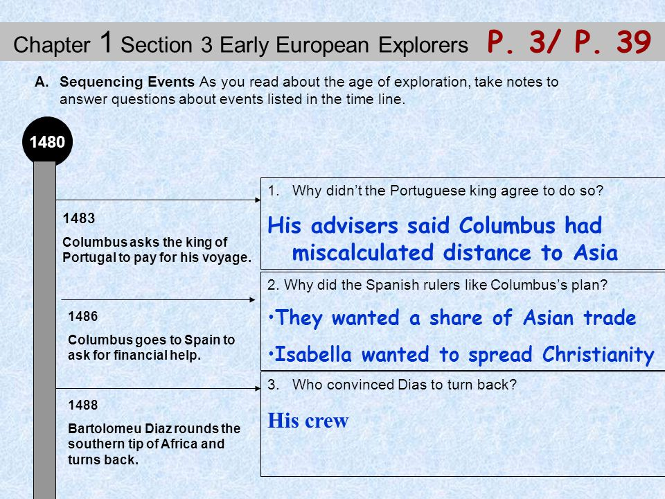 Chapter 1 Section 3 Early European Explorers P. 3/ P. 39 A.Sequencing Events As you read about the age of exploration, take notes to answer questions