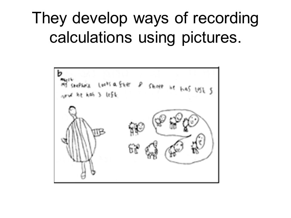 They develop ways of recording calculations using pictures.