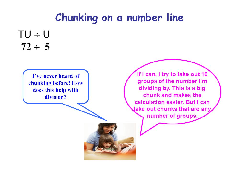 Chunking on a number line TU  U 72  5 I've never heard of chunking before! How does this help with division? If I can, I try to take out 10 groups o