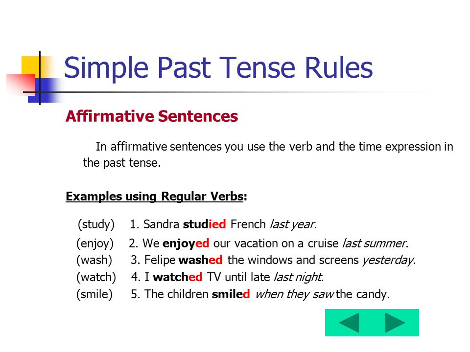 Simple Past Tense Rules Affirmative Sentences In affirmative sentences you use the verb and the time expression in the past tense. Examples using Regu