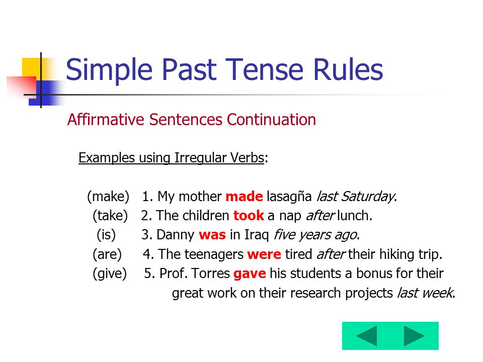 Simple Past Tense Rules Affirmative Sentences Continuation Examples using Irregular Verbs: (make) 1. My mother made lasagña last Saturday. (take) 2. T